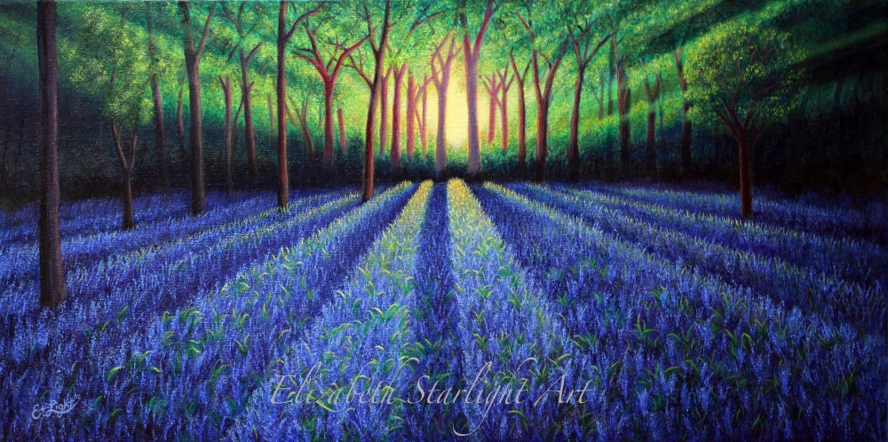 Bluebell Forest oil painting print