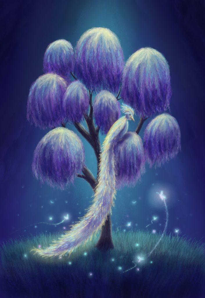 Fantasy bird illustration sitting in tree, beautiful tail