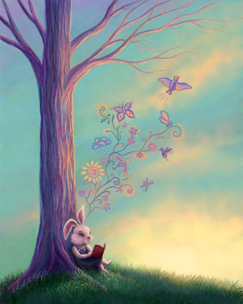 Illustration titled Bunny Wonder by Elizabeth Starlight