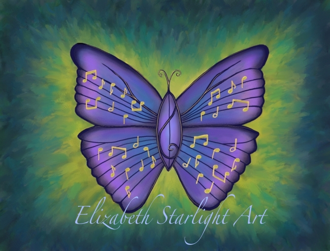 Musical Butterfly illustration by Elizabeth Starlight
