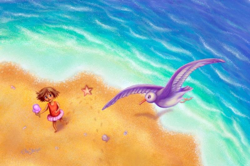 Kidlit illustration little girl on the beach with seagull