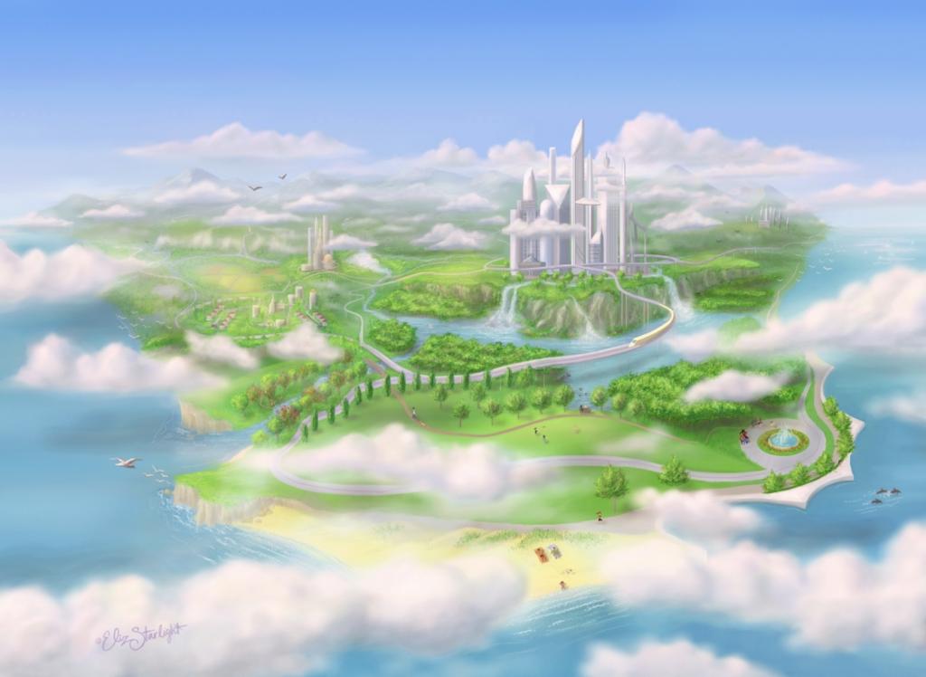 Island illustration of fantasy world