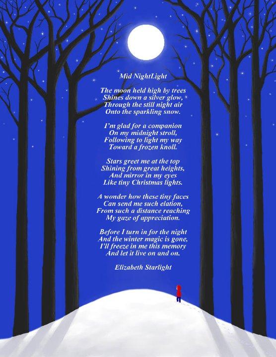 Illustrated poem trees and moon